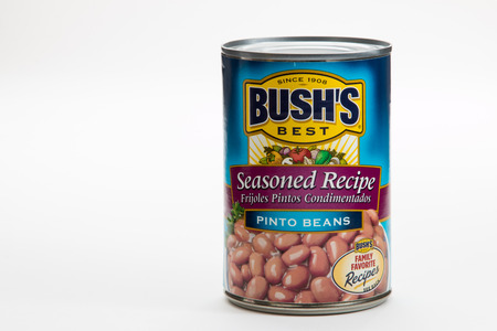 Pensacola, FL - June 4, 2017: Bushs Best pinto beans in a can are a popular side dish. Editorial