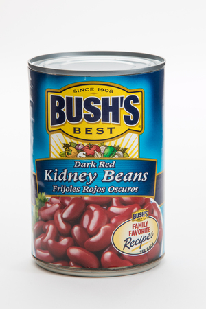 illustrative editorial: Pensacola, FL - June 4, 2017: Bushs Best Kidney red beans in a can.