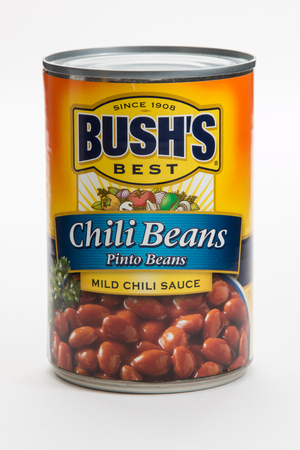 Pensacola, FL - June 4, 2017: Bushs Best chili beans in a can used to make chili. Editorial