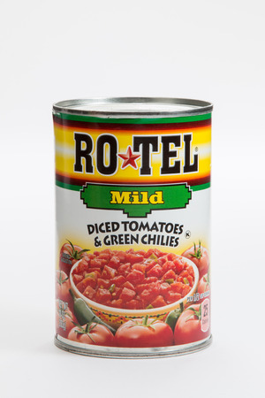 Pensacola, FL - June 4, 2017: Rotel diced tomatoes and chilies is used for cooking.