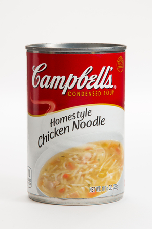 Pensacola, FL - June 4, 2017: Campbells Chicken Noodle condensed soup is a classic comfort food.