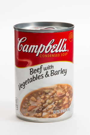 Pensacola, FL - June 4, 2017: Campbells Beef with Vegetables and Barley is a popular soup. Editorial