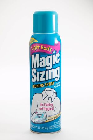 Pensacola, FL - June 4, 2017: Magic Sizing brand spray starch is used for ironing.
