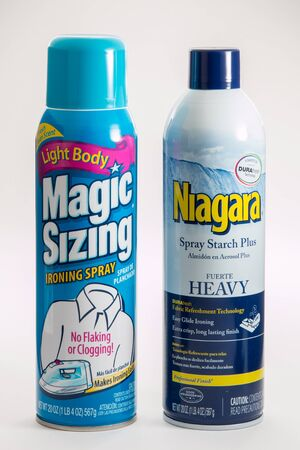 Pensacola, FL - June 4, 2017: Niagara Spray starch and Magic Sizing are competing brands of starch.