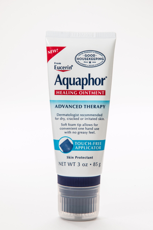 illustrative editorial: Pensacola, FL - June 4, 2017: Eucerin Aquaphor healing ointment for dry and damaged skin. Editorial