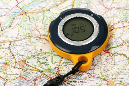 GPS Backtracker on a road map Stock Photo - 15189627