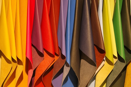 Brightly colored leather samples  版權商用圖片