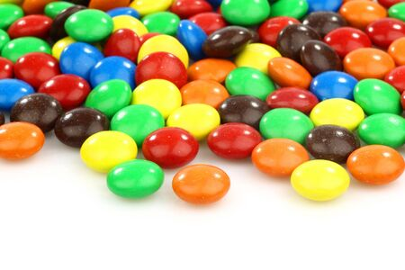 hard candy: colorful assorted  sweets  on a white background
