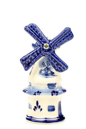 Dutch mini porcelain windmill on a white background Stock Photo - 15218683