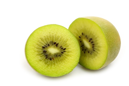 two kiwi fruit halves on a white background  photo