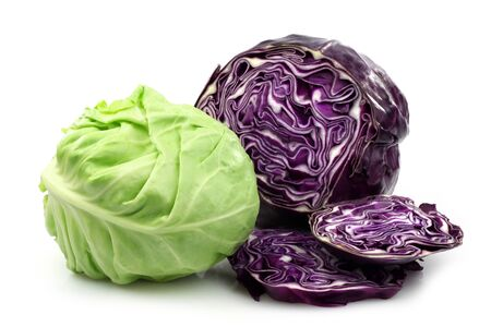 Freshly cut red and white cabbage on a white background  photo
