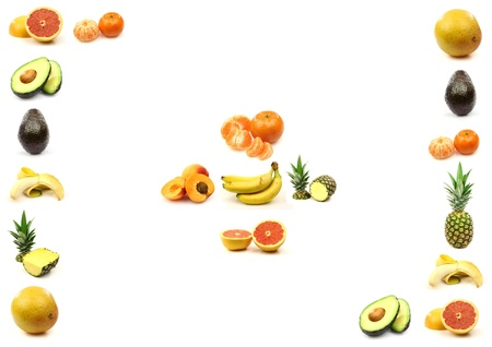 fruit border with room for your text and images on a white background  photo