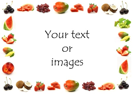 fruit border with room for your text and images on a white background