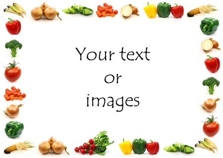 vegetable border with room for your text or images on a white background  Stock Photo