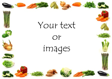 vegetable border with room for your text or images on a white background  photo
