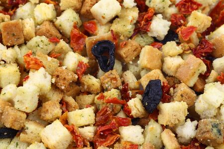 colorful fresh and crunchy italian croutons background Stock Photo - 14997350