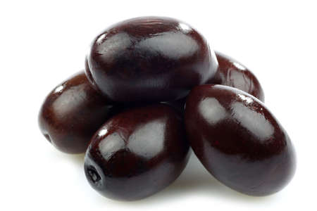 bunch of black olives on a white background Stock Photo - 14997152