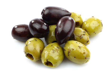 bunch of black and seasoned green olives on a white background Stock Photo - 14997159