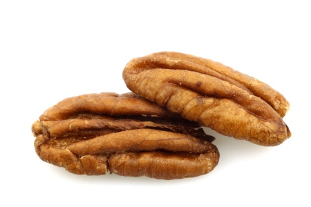 un healthy: pecan nuts on a white background