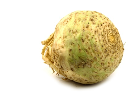 apium graveolens: one fresh celery root  Apium graveolens var  rapaceum  on a white background