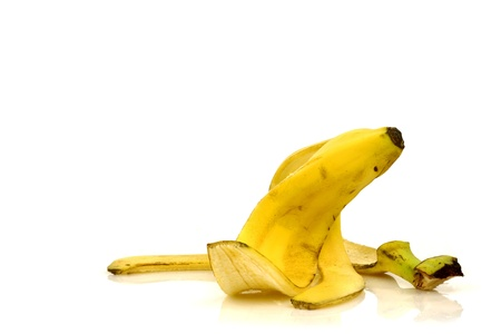 comedic: banana peel isolated on a white background