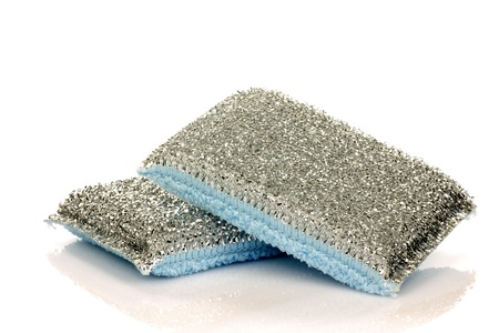 two abrasive pads on a white background  Banco de Imagens