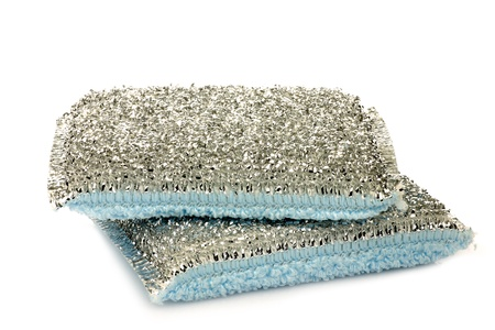 abrasive: two abrasive pads on a white background  Stock Photo