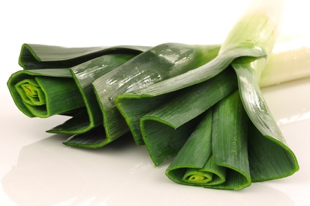 fresh leek on a white background  Stock Photo