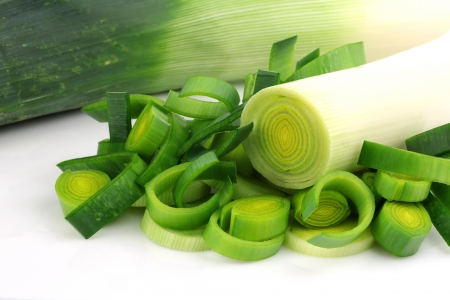 fresh cut leek on a white background
