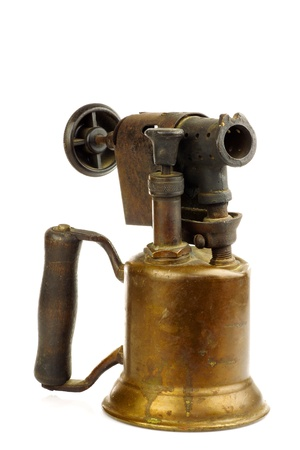 kerosene lamp: Old blowtorch on a white background  Stock Photo