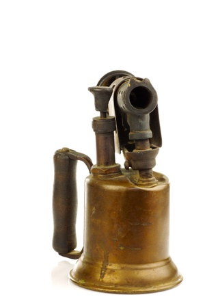 brazing: Old blowtorch on a white background  Stock Photo
