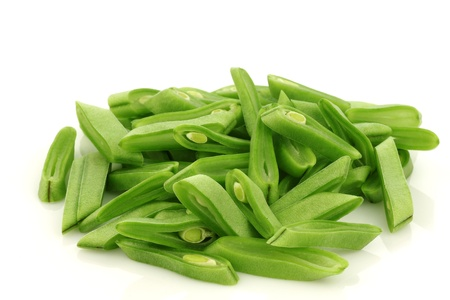 bunch of cut string beans on a white background  Stock Photo - 15487545