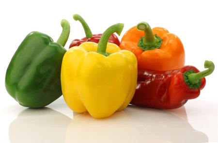colorful mixed paprika s  capsicum  on a white background  版權商用圖片