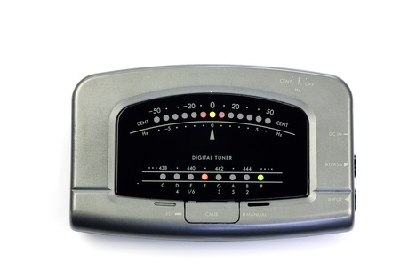 guitar tuner: electronic instrument tuner on a white background