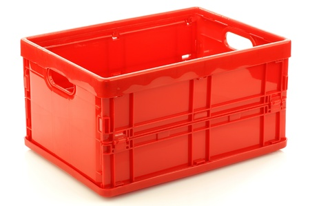 foldable red plastic storage box on a white background  3D view   版權商用圖片