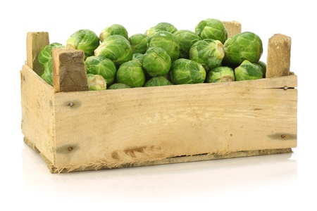 freshly harvested brussel sprouts in a wooden crate on a white background  photo