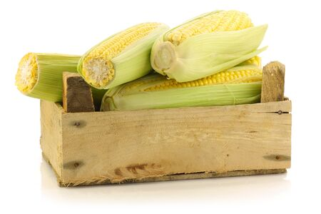 husk: corn on the cob in a wooden crate on a white background  Stock Photo