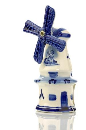 Dutch mini porcelain windmill on a white background Stock Photo - 15487644