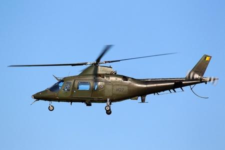 leeuwarden: LEEUWARDEN,FRIESLAN D,HOLLAND-SEPTEMBER 17: Agusta A-109 BA Hirundo helicopter of the Belgian Air Force at the Airshow on September 17, 2011 at Leeuwarden Airfield  Editorial