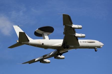 leeuwarden: LEEUWARDEN,FRIESLAN D,HOLLAND-SEPTEMBER 17: Boeing E-3 Sentry AWACS Plane makes flyby at the Airshow on september 17, 2011 at Leeuwarden Airfield