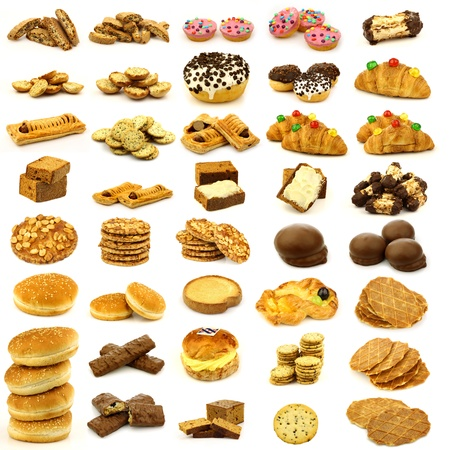 collection of freshly baked buns,cookies,cakes and bread on a white background  Banque d'images
