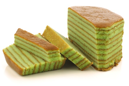 fattening: Indonesian layered cake called  spekkoek  on a white background  Stock Photo