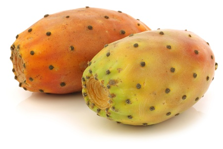 two fresh colorful cactus fruits on a white background  Stock Photo
