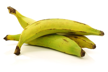 fresh still unripe plantain  baking  bananas on a white background