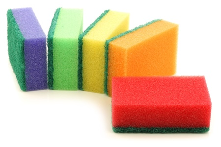 abrasive: colorful abrasive pads on a white background  Stock Photo