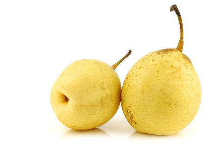 fresh nashi pears on a white background  photo