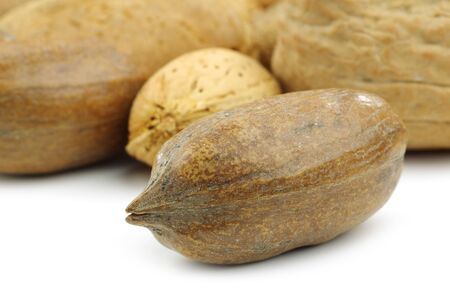 anti oxidants: tasty pecan nut in front of mixed nuts on a white background