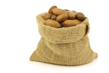 anti oxidants: tasty pecan nuts in a burlap bag on a white background