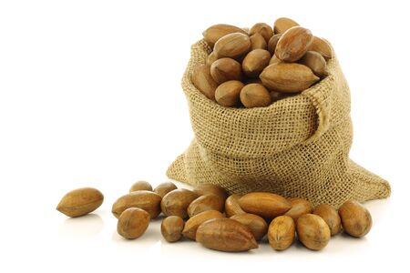 tasty pecan nuts in a burlap bag on a white background Stock Photo - 15106469