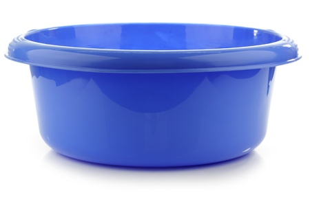 blue plastic wash bowl on a white background Фото со стока - 15106062